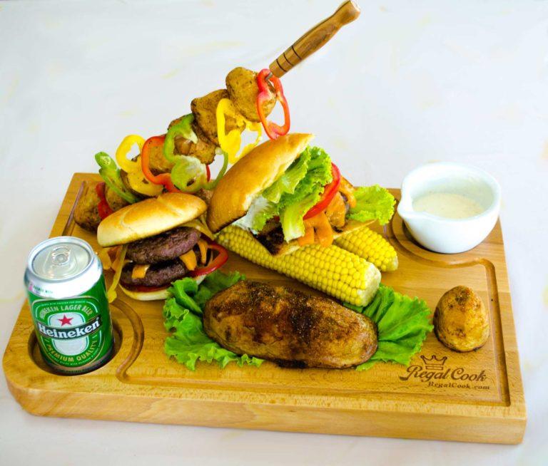 Дъска за Сервиране - Хамбургер, Бира, Шишове